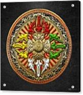 Tibetan Double Dorje Mandala Acrylic Print