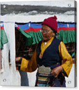 Tibetan Grandmother Turning The Prayer Wheel Acrylic Print