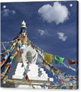 Tibetan Stupa With Prayer Flags Acrylic Print