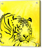 Tiger Animal Decorative Black And Yellow Poster 1 - By   Diana Van Acrylic Print
