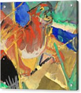 Tiger In The Jungle By Franz Marc Red And Yellow Tiger On The Prowl Acrylic Print