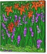 Tiger Lilies And Purple Hostas Acrylic Print