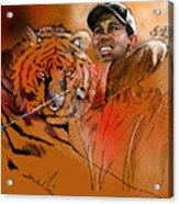 Tiger Woods Or Earn Your Stripes Acrylic Print