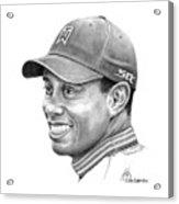 Tiger Woods Smile Acrylic Print