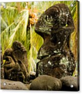 Tiki Carvings In Hatiheu Village, Nuku Acrylic Print