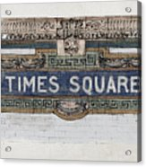 Tile Mosaic Sign, Times Square Subway New York, Handmade Sketch Acrylic Print