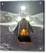 Timberline Lodge Entry Mt Hood Snowdrifts Acrylic Print by Dustin K Ryan