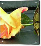 Time To Give A Rose - Yellow And Pink Rose - Clock Face Acrylic Print