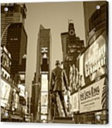 Times Square Ny Overlooking The Square Sepia Acrylic Print