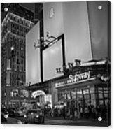 Times Square Subway Stop At Night New York Ny Black And White Acrylic Print