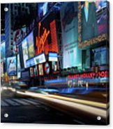 Times Square With Light Trail Acrylic Print