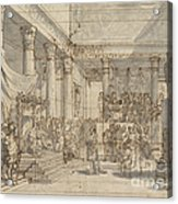 Timotheus Playing The Lyre Before Alexander And Tha?s In The Hall Of The Palace At Persepolis Acrylic Print
