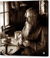 Tin Smith - Making Toys For Children - Sepia Acrylic Print
