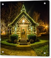 Tiny Chapel With Lighting At Night Acrylic Print