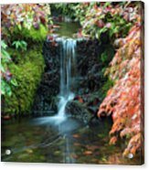 Tiny Waterfall In Japanese  Garden.the Butchart Gardens,victoria.canada. Acrylic Print