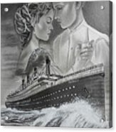 Titanic Drawing With Kate And Leonardo Acrylic Print
