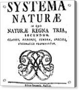 Title Page, Systema Naturae, Carl Acrylic Print