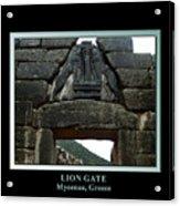 Titled Lion Gate Of Mycenae Acrylic Print