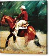 Tk Enterprise Sliding Stop Reining Horse Portrait Painting Acrylic Print