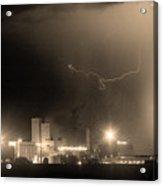 To The Right Budweiser Lightning Strike Sepia  Acrylic Print