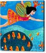 Toadstool Fairy Flies Again Acrylic Print