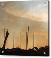 Tobacco Barn Fire IIi Silhouette Acrylic Print