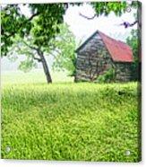 Tobacco Barn In Fog Acrylic Print