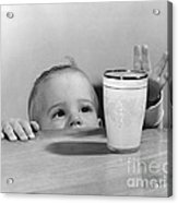Toddler Reaching For Glass Of Milk Acrylic Print