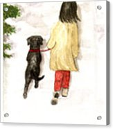 Together - Black Labrador And Woman Walking Acrylic Print