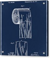 Toilet Paper Roll Patent 1891 Blue Acrylic Print