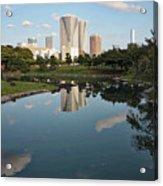 Tokyo Buildings And Garden Pond Acrylic Print
