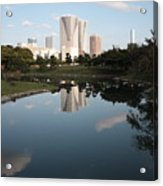 Tokyo Highrises With Garden Pond Acrylic Print