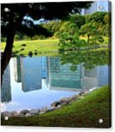 Tokyo Skyscrapers Reflection Acrylic Print