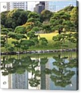 Tokyo Trees Reflection Acrylic Print by Carol Groenen
