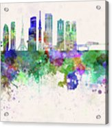 Tokyo V3 Skyline In Watercolor Background Acrylic Print
