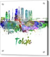 Tokyo V3 Skyline In Watercolor Acrylic Print