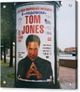 A Rare Collectible Poster Of Tom Jones In Russia Acrylic Print