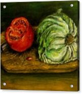 Tomato And Cabbage Oil Painting Canvas Acrylic Print
