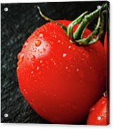 Tomatoes Close Up On Black Slate Acrylic Print