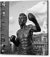 Tony Demarco Boxer Statue North End Boston Ma Sunset Black And White Acrylic Print