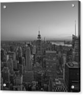 Top Of The Rock At Sunset Bw Acrylic Print