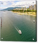 Top View Of English Bay In Summer, Vancouver Bc. Acrylic Print