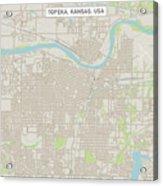 Topeka Kansas Us City Street Map Acrylic Print