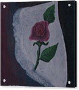 Torn Canvas Rose Acrylic Print