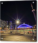Toronto Harbourfront Street Car Light Trails Acrylic Print