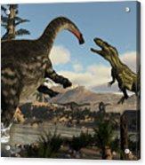 Torvosaurus And Apatosaurus Dinosaurs Fighting - 3d Render Acrylic Print