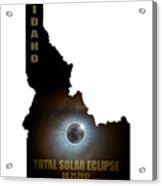 Total Solar Eclipse In Idaho Map Outline Acrylic Print