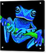 Totally Blue Frog On A Vine Acrylic Print