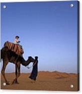Touareg Man Leading Boy Riding Camel In Sahara Desert Acrylic Print
