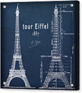 Tour Eiffel Engineering Blueprint Acrylic Print